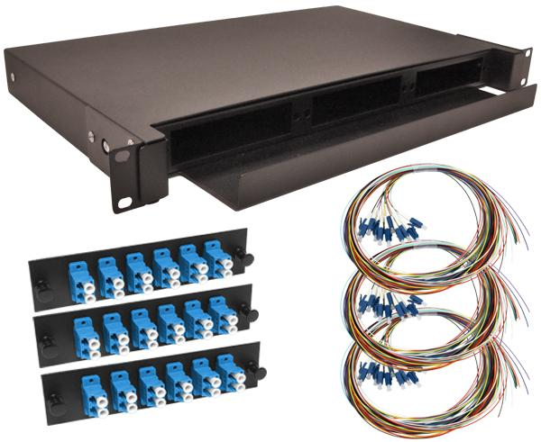 36-Strand Pre-Loaded Single Mode LC Slide-Out 1U Fiber Patch Panel with Unjacketed Pigtail Bundle