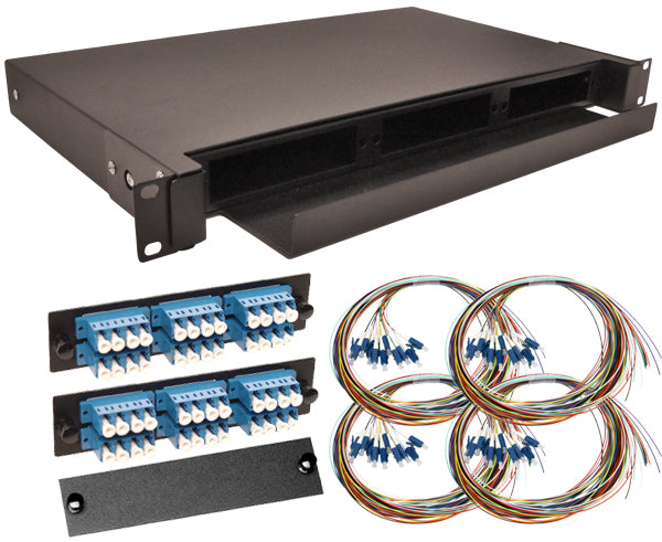 48-Strand Pre-Loaded Single Mode LC Slide-Out 1U Fiber Patch Panel with Unjacketed Pigtail Bundle