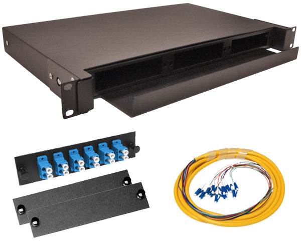 12-Strand Pre-Loaded Single Mode LC Slide-Out 1U Fiber Patch Panel with Jacketed Pigtail Bundle