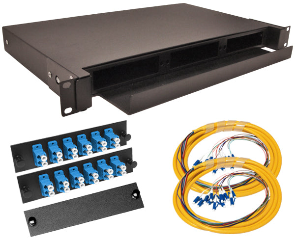 24-Strand Pre-Loaded Single Mode LC Slide-Out 1U Fiber Patch Panel with Jacketed Pigtail Bundle