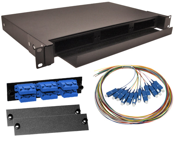 12-Strand Pre-Loaded Single Mode SC Slide-Out 1U Fiber Patch Panel with Unjacketed Pigtail Bundle