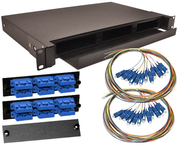 24-Strand Pre-Loaded Single Mode SC Slide-Out 1U Fiber Patch Panel with Unjacketed Pigtail Bundle