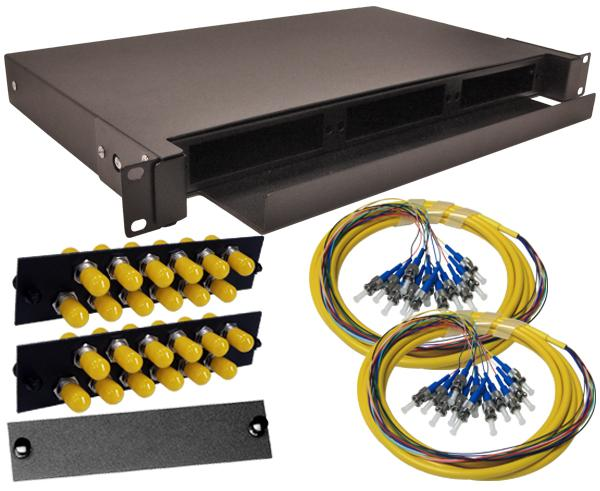 24-Strand Pre-Loaded OS2 Single Mode ST Slide-Out 1U Fiber Patch Panel with Jacketed Pigtail Bundle
