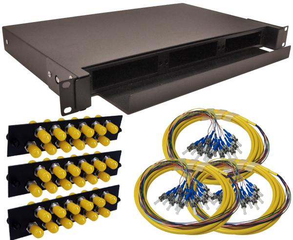 36-Strand Pre-Loaded OS2 Single Mode ST Slide-Out 1U Fiber Patch Panel with Jacketed Pigtail Bundle