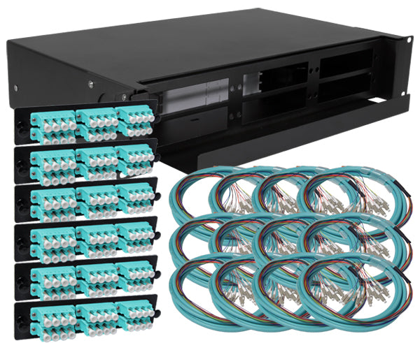 144-Strand Pre-Loaded OM3 Multimode LC Slide-Out 2U Fiber Patch Panel with Jacketed Pigtail Bundle
