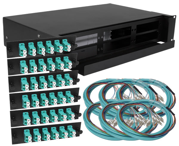 72-Strand Pre-Loaded OM3 Multimode LC Slide-Out 2U Fiber Patch Panel with Jacketed Pigtail Bundle