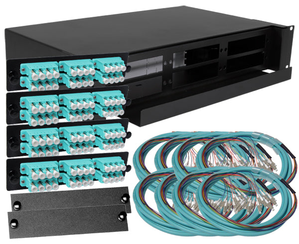 96-Strand Pre-Loaded OM3 Multimode LC Slide-Out 2U Fiber Patch Panel with Jacketed Pigtail Bundle