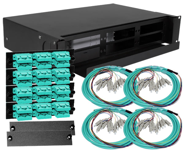 48-Strand Pre-Loaded OM3 MultiMode SC Slide-Out 2U Fiber Patch Panel with Jacketed Pigtail Bundle