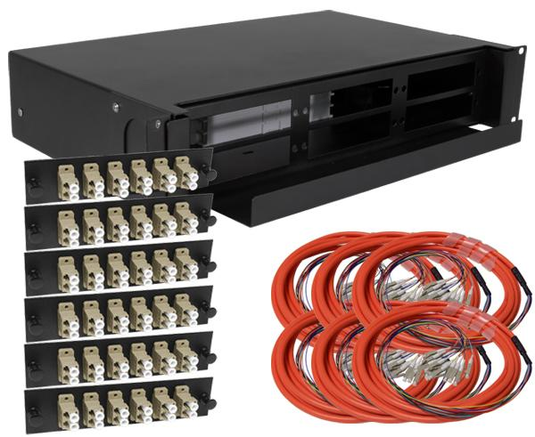 72-Strand Pre-Loaded OM1 Multimode LC Slide-Out 2U Fiber Patch Panel with Jacketed Pigtail Bundle