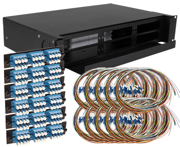 144-Strand Pre-Loaded OS2 Single-Mode LC Slide-Out 2U Fiber Patch Panel with Unjacketed Pigtail Bundle