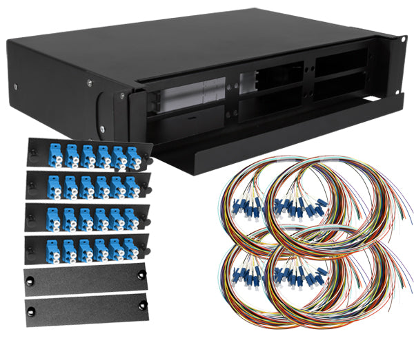 48-Strand Pre-Loaded OS2 Single-Mode LC Slide-Out 2U Fiber Patch Panel with Unjacketed Pigtail Bundle