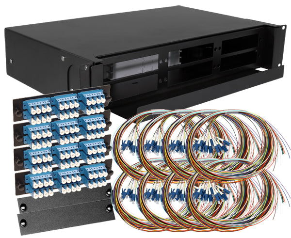 96-Strand Pre-Loaded OS2 Single-Mode LC Slide-Out 2U Fiber Patch Panel with Unjacketed Pigtail Bundle