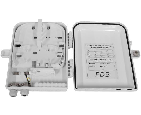 Fiber Termination Box, Wall Mount, Plastic, 16 Splices, Indoor/Outdoor, IP-65 Rated White