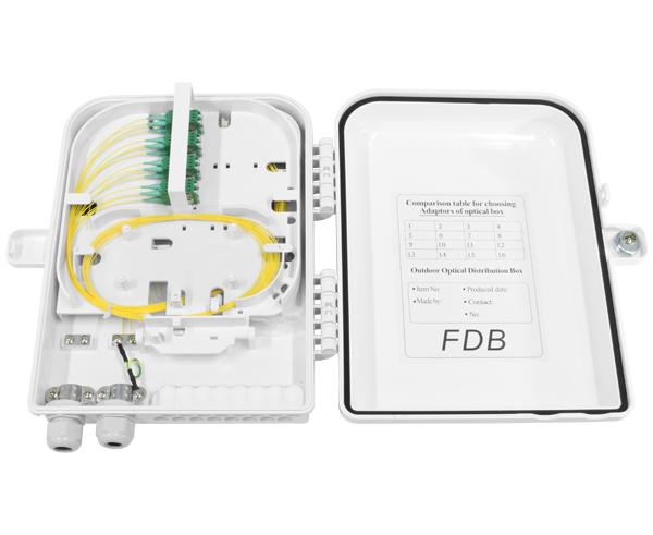 Fiber Distribution Unit, Wall Mount, Plastic, 16 SC Connections, 16 Splices, Indoor/Outdoor, IP-65 Rated White