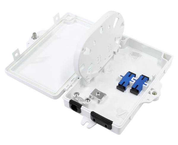 Fiber Termination Box, Wall Mount, Plastic, 2 Splices, Outdoor, IP-66 Rated White