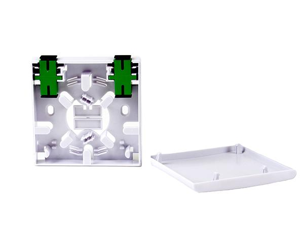 Fiber Surface Mount Box, Wall Mount, 2 SC/APC Adapters, Indoor, White