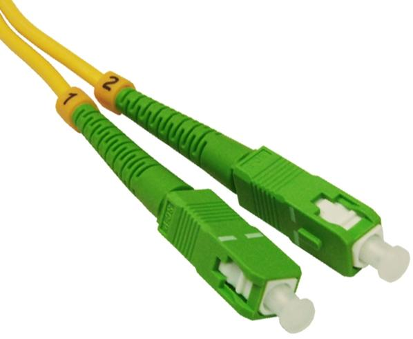 Fiber Optic Patch Cable, LC/UPC to SC/APC, Single-Mode 9/125, Duplex