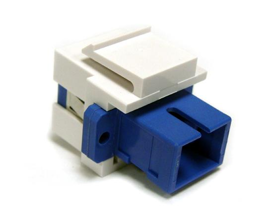 Fiber Modular Keystone Insert, SC Simplex Single Mode, White