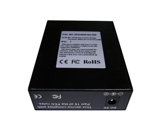 Media Converter, Single-Mode, Fast Ethernet, 60K, RJ45-Duplex SC