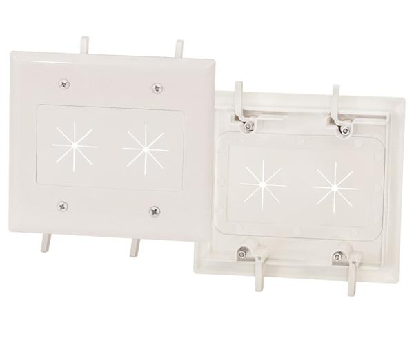 Feed-Through Cable Wall Plate with Flexible Opening Dual Gang, White