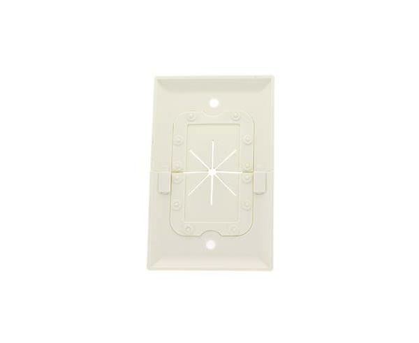 Split Feed-Through Wall Plate, 1-Gang, with Flexible Opening in White or Ivory