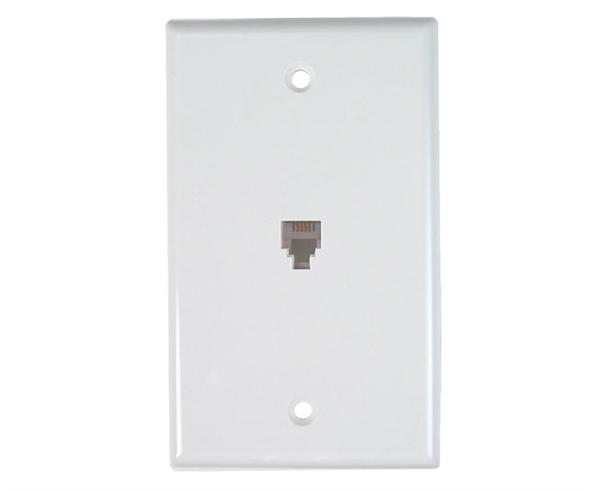 RJ11 Wall Plate With Telephone Jack - 1-Port, 4 or 6 Conductor, Flush Mount, Punchdown - Available in 2 Colors - Photos