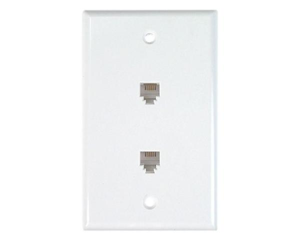 RJ11 Wall Plate With Telephone Jack - 2-Port, 4 or 6 Conductor, Flush Mount, Punchdown - Available in 2 Colors - Front