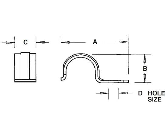 1-Hole Plated Steel EMT Straps Snap-on Type Diagram