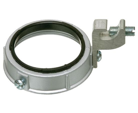 Insulated Metal Grounding Bushings With dual rated CU-AL C-clamp grounding lug. Zinc die-cast. 150™ C rated