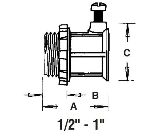 "EMT Set-Screw Connectors Concrete tight, Zinc die-cast - 1/2"" to 1"" diagram"