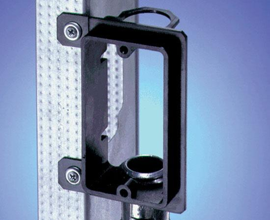"Single-Gang New Construction Low Voltage Mounting Brackets, Black w/ 3/4"" EMT Fitting"