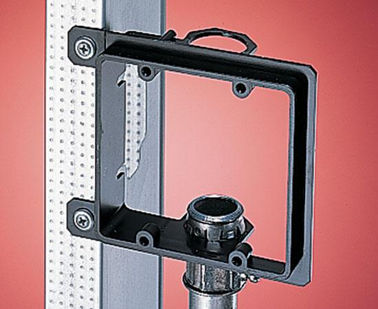 "Dual-Gang New Construction Low Voltage Mounting Brackets, Black w/ 3/4"" EMT Fitting"