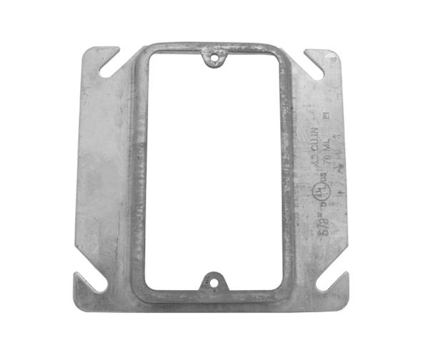 "Electrical Box Cover, 4"" Steel Square, Single Gang"
