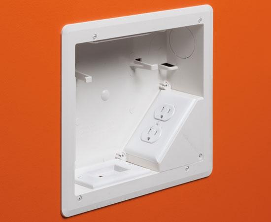 "8"" x 10"" TV BOX™ Kit Non-metallic Recessed Power & Low Voltage Electrical Box – White, In Wall"