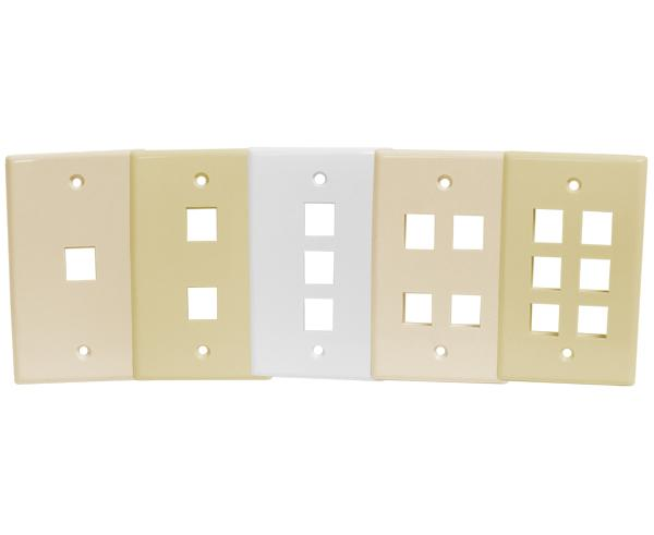 Wall Plates, - 1, 2, 3, 4, & 6 Ports - Almond, Ivory, White