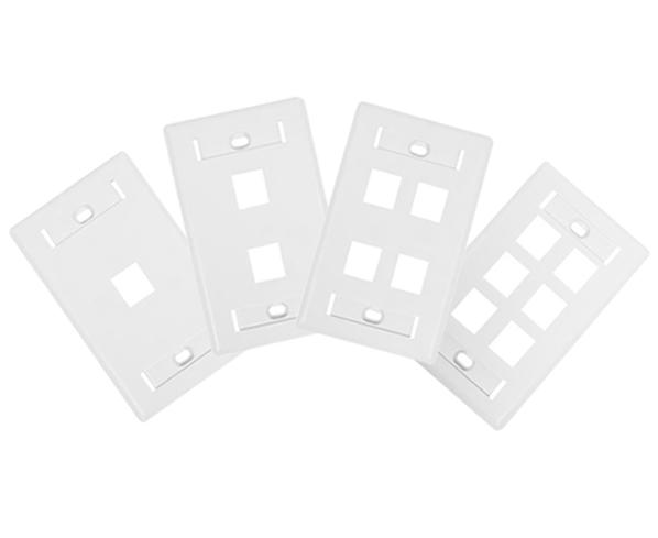 Keystone Wall Plate w/ ID Window, Single-Gang, Flush - Up to 6-Ports - Available in 2 Colors
