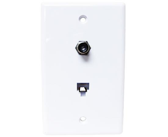1 Port CAT3 Wall Plate With F81 & TV Jack, 4 Conductor, Flush Mount - White