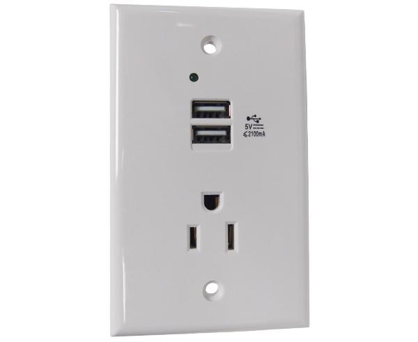 In-Wall Charging Wall Plate, 1x Power Outlet & 2x USB Charging Ports