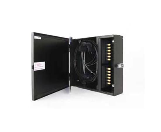 Fiber Wall Mount Enclosure, NEMA 12 Rated, 4 Panel & 24 Splice Capacity