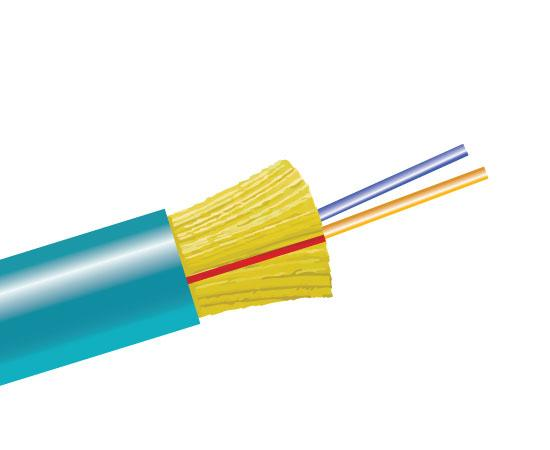 Distribution Fiber Optic Cable, 2 Strand, Multimode, 50/125 10 Gig OM4, Indoor/Outdoor, Riser