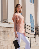 Blush Flutter Sleeve Round Neck Top - Keely