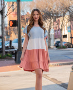 The Madison Color-Block Tiered Mini Dress