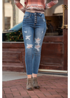 High Waist Destroyed Button Fly Skinny Jeans Judy Blue - Orlando