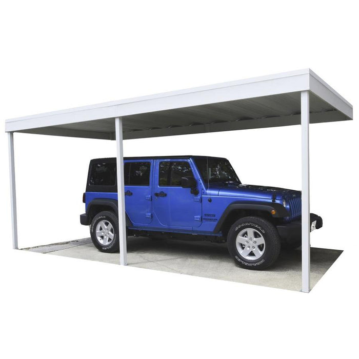 Attached Patio Cover/Carport, Hot Dipped Galvanized Steel with Vinyl Coating, Eggshell Finish, Flat Roof:Tuff Nest