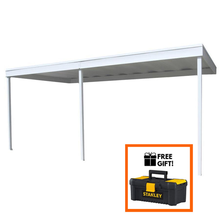 Tuff Nest, Arrow® Attached Patio Cover/Carport, Hot Dipped Galvanized Steel With Vinyl Coating, Eggshell Finish, Flat Roof, {variant_title]