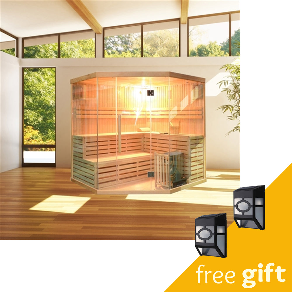 Aleko® Canadian Hemlock Indoor Wet Dry Sauna - 6 kW ETL Certified Heater - 5 to 6 Person:Tuff Nest