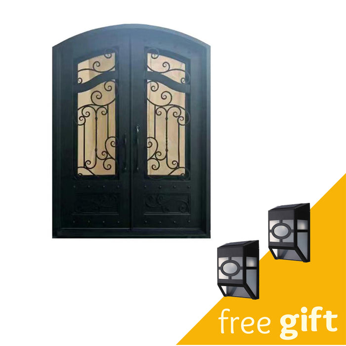 Aleko® Iron Arched Top Dimensional-Panel Dual Door with Frame and Threshold - 96 x 72 Inches - Matte Black:Tuff Nest