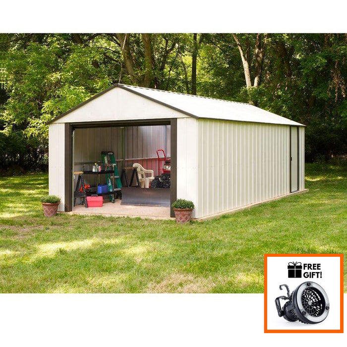 Tuff Nest, Arrow® Murryhill Vinyl Coated, Heavy Duty Steel Storage Shed With Roll-up Garage Door, {variant_title]