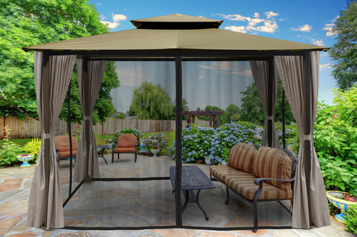 Paragon Outdoor™ Barcelona Gazebo with Sand Color Top and Privacy Curtains and Mosquito Netting, Size - 10' x 12':Tuff Nest