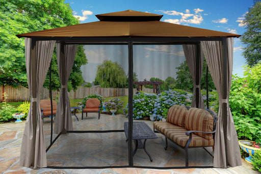 Paragon Outdoor™ Barcelona Gazebo with Cocoa Top and Privacy Curtains and Mosquito Netting, Size - 10' x 12':Tuff Nest